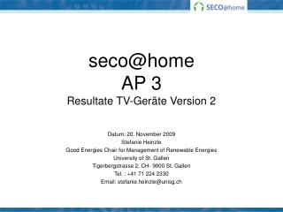 seco@home AP 3 Resultate TV-Geräte Version 2