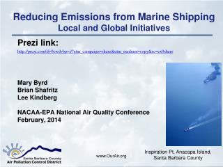 Reducing Emissions from Marine Shipping Local and Global Initiatives