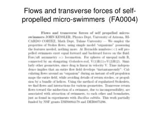 Flows and transverse forces of self-propelled micro-swimmers  (FA0004)