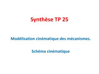 Synthèse TP 25