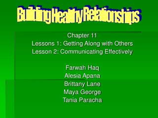 Chapter 11 Lessons 1: Getting Along with Others Lesson 2: Communicating Effectively Farwah Haq