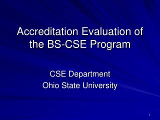 Accreditation Evaluation of the BS-CSE Program
