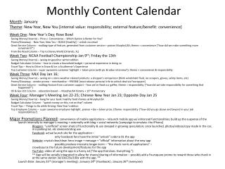 Monthly Content Calendar