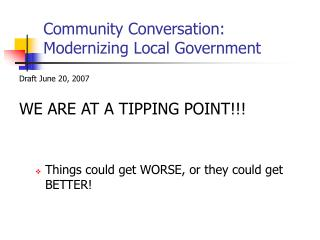 Community Conversation: Modernizing Local Government