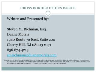 CROSS BORDER ETHICS ISSUES