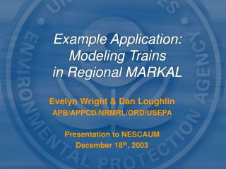 Example Application: Modeling Trains in Regional MARKAL