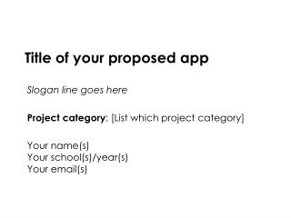 Title of your proposed app