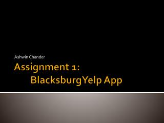 Assignment 1: BlacksburgYelp  App