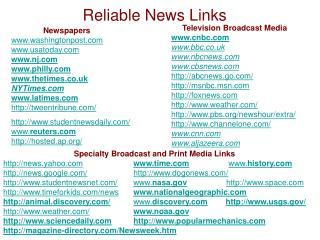 Reliable News Links