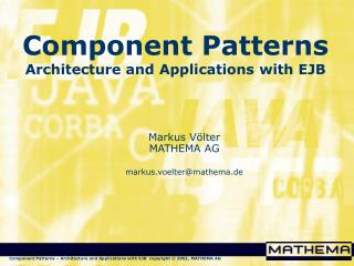 Component Patterns Architecture and Applications with EJB