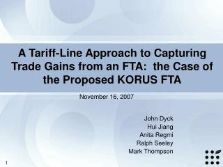A Tariff-Line Approach to Capturing Trade Gains from an FTA:  the Case of the Proposed KORUS FTA