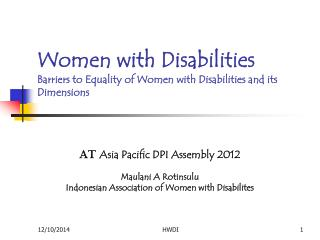 Women with Disabilities Barriers to Equality of Women with Disabilities and its Dimensions