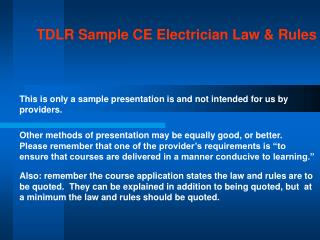 TDLR Sample CE Electrician Law & Rules