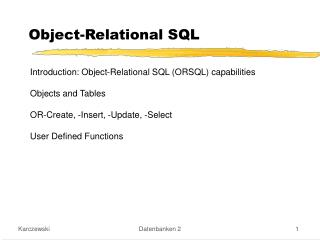Object-Relational SQL