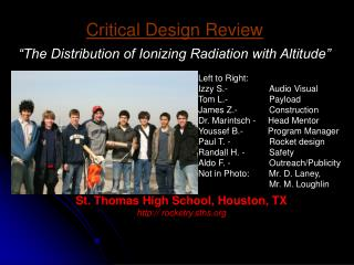 "Critical Design Review ""The Distribution of Ionizing Radiation with Altitude"""