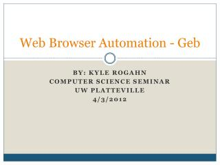 Web Browser Automation - Geb