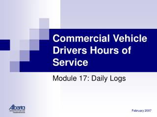 Commercial Vehicle Drivers Hours of Service