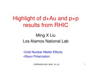 Highlight of d+Au and p+p results from RHIC