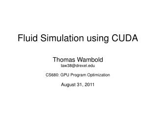 Fluid Simulation using CUDA