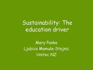 Sustainability: The education driver