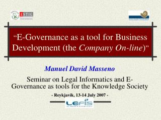 """ E-Governance as a tool for Business Development (the  Company On-line ) """