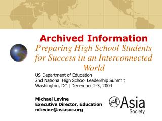 Archived Information Preparing High School Students for Success in an Interconnected World