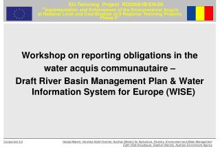 Workshop on reporting obligations in the  water acquis communautaire –