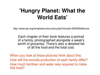 'Hungry Planet: What the World Eats'