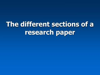 different sections research paper
