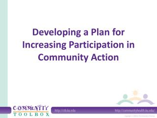 Developing a Plan for Increasing Participation in Community Action