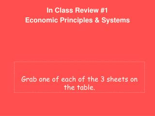 In Class Review #1 Economic Principles & Systems