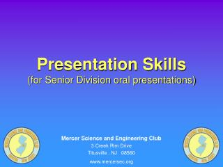 Presentation Skills for Senior Division oral presentations