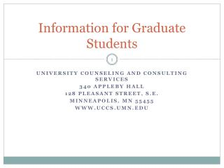 Information for Graduate Students