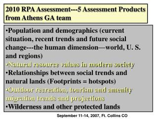 2010 RPA Assessment---5 Assessment Products from Athens GA team