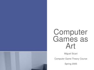 Computer Games as Art