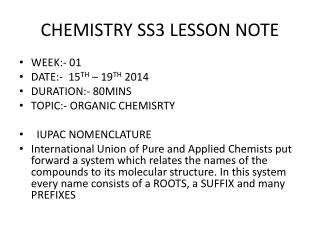 CHEMISTRY SS3 LESSON NOTE