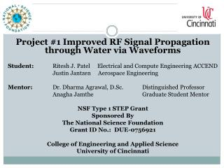 Project #1 Improved  RF Signal Propagation through Water via  Waveforms