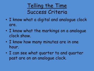 Telling the Time Success Criteria