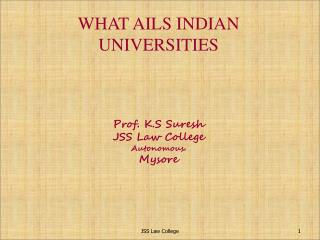WHAT AILS INDIAN  UNIVERSITIES Prof. K.S Suresh JSS Law College Autonomous. Mysore