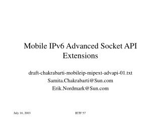 Mobile IPv6 Advanced Socket API Extensions