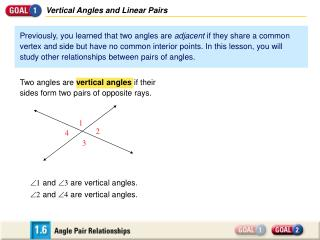 Vertical Angles and Linear Pairs