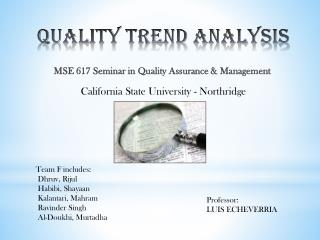 Quality Trend Analysis