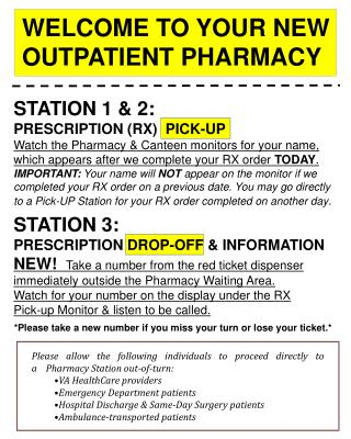 STATION 1 & 2: PRESCRIPTION (RX)  PICK-UP
