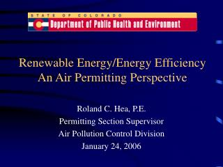 Renewable Energy/Energy Efficiency An Air Permitting Perspective