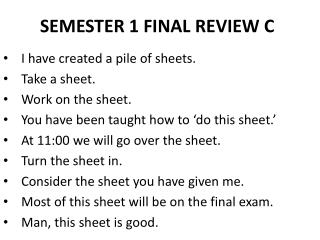 SEMESTER 1 FINAL REVIEW  C