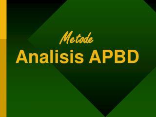 Metode  Analisis APBD