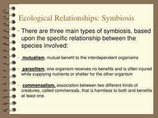 Ecological Relationships: Symbiosis