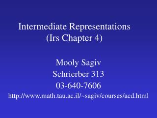 Intermediate Representations (Irs Chapter 4)