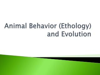 Animal Behavior ( Ethology ) and Evolution