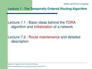 Lecture 7 : The Temporally Ordered Routing Algorithm
